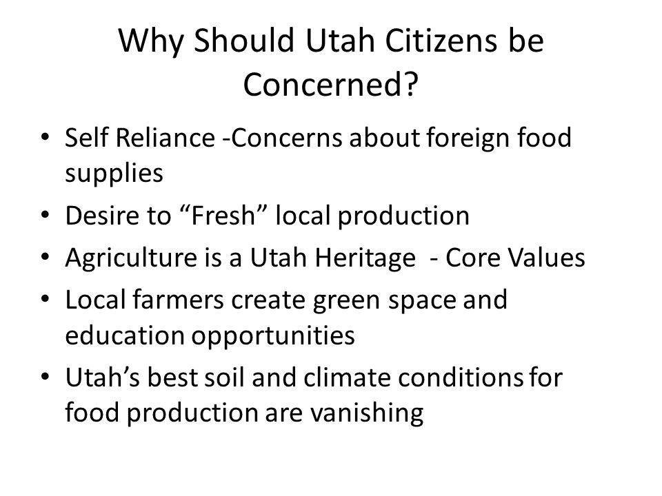 Why Should Utah Citizens be Concerned.