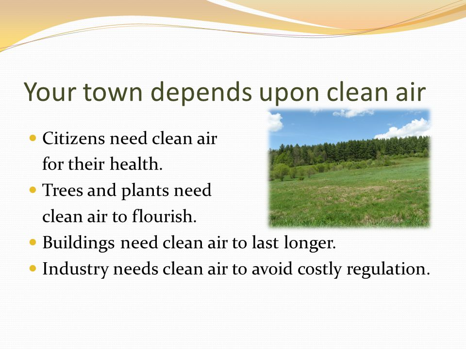 Your town depends upon clean air Citizens need clean air for their health.