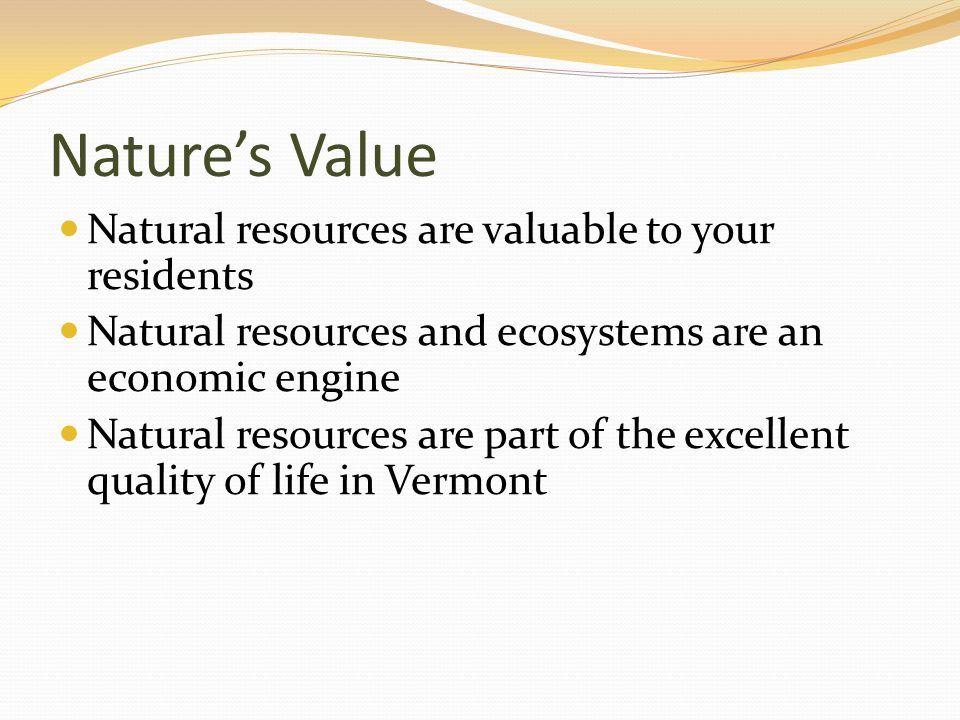 Nature's Value Natural resources are valuable to your residents Natural resources and ecosystems are an economic engine Natural resources are part of the excellent quality of life in Vermont