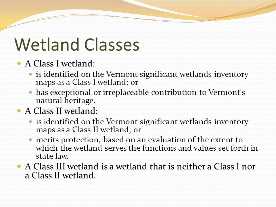 Wetland Classes A Class I wetland: is identified on the Vermont significant wetlands inventory maps as a Class I wetland; or has exceptional or irreplaceable contribution to Vermont s natural heritage.