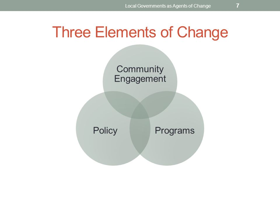 Three Elements of Change Local Governments as Agents of Change 7