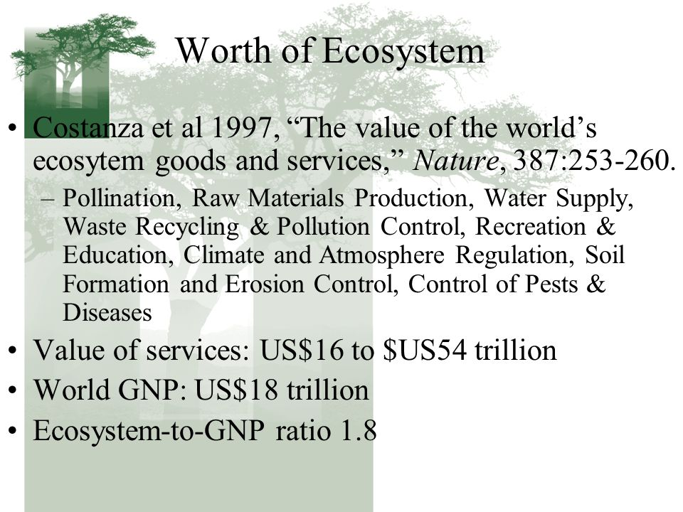 "Worth of Ecosystem Costanza et al 1997, ""The value of the world's ecosytem goods and services,"" Nature, 387:253-260. –Pollination, Raw Materials Produ"