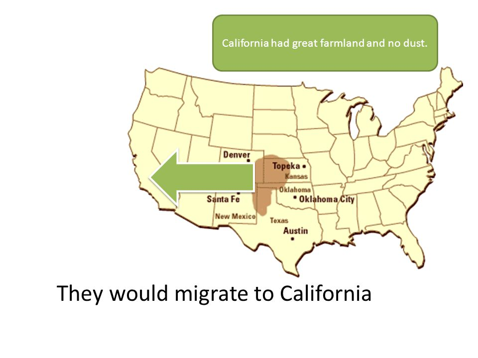 California had great farmland and no dust. They would migrate to California