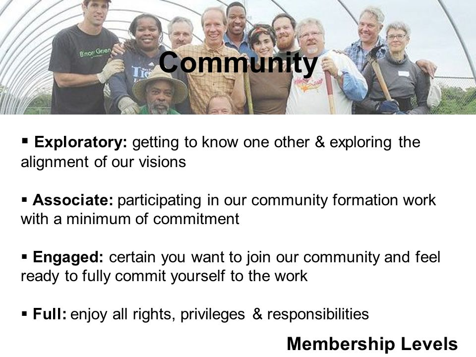 Community Membership Levels  Exploratory: getting to know one other & exploring the alignment of our visions  Associate: participating in our community formation work with a minimum of commitment  Engaged: certain you want to join our community and feel ready to fully commit yourself to the work  Full: enjoy all rights, privileges & responsibilities