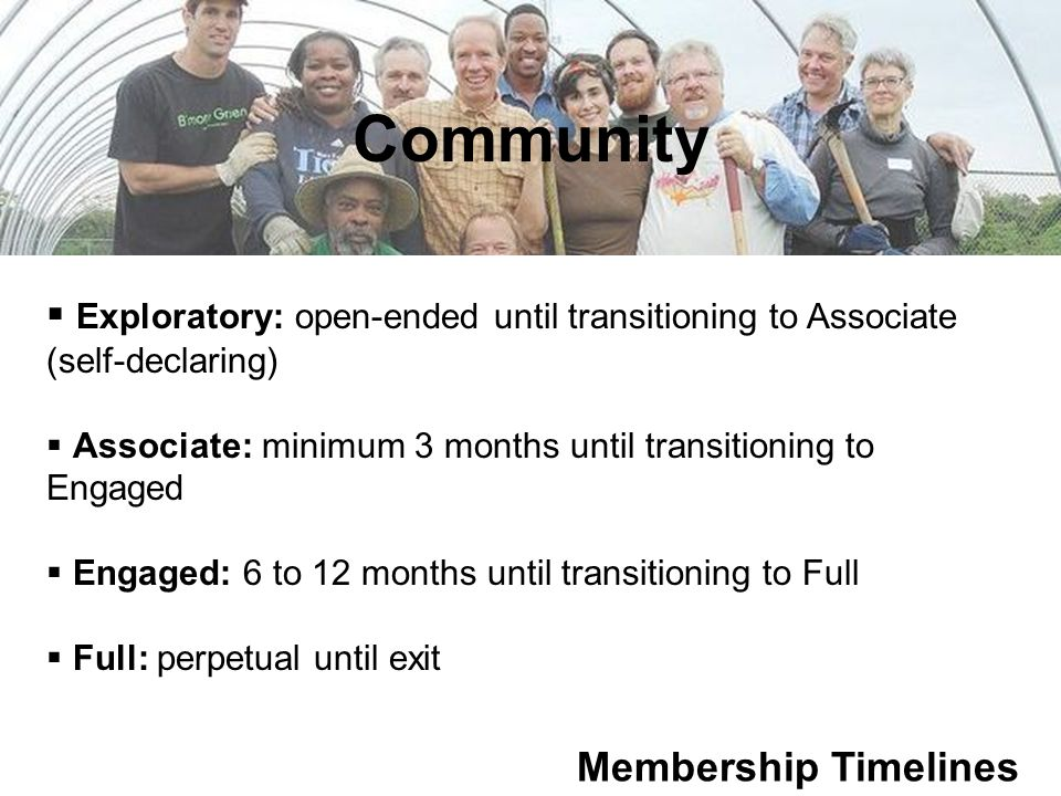 Community Membership Timelines  Exploratory: open-ended until transitioning to Associate (self-declaring)  Associate: minimum 3 months until transitioning to Engaged  Engaged: 6 to 12 months until transitioning to Full  Full: perpetual until exit