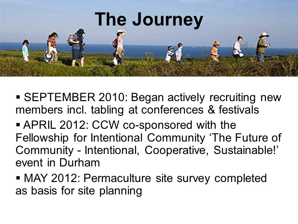  SEPTEMBER 2010: Began actively recruiting new members incl. tabling at conferences & festivals  APRIL 2012: CCW co-sponsored with the Fellowship fo