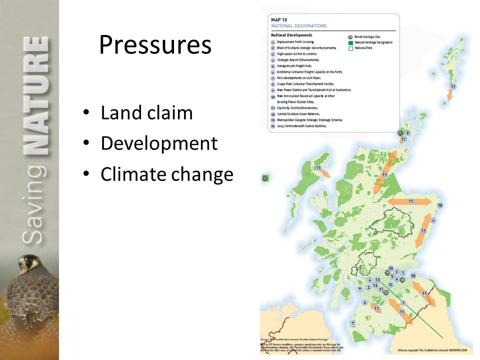 Pressures Land claim Development Climate change