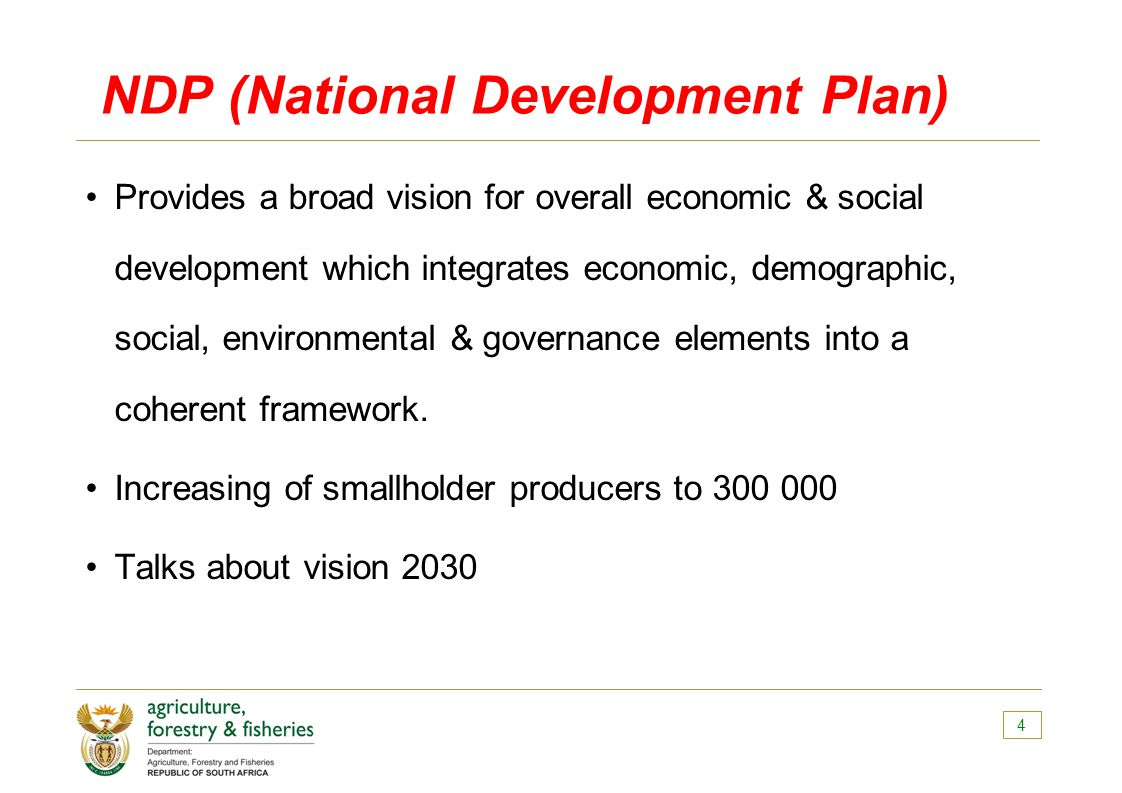 NDP (National Development Plan) Provides a broad vision for overall economic & social development which integrates economic, demographic, social, environmental & governance elements into a coherent framework.