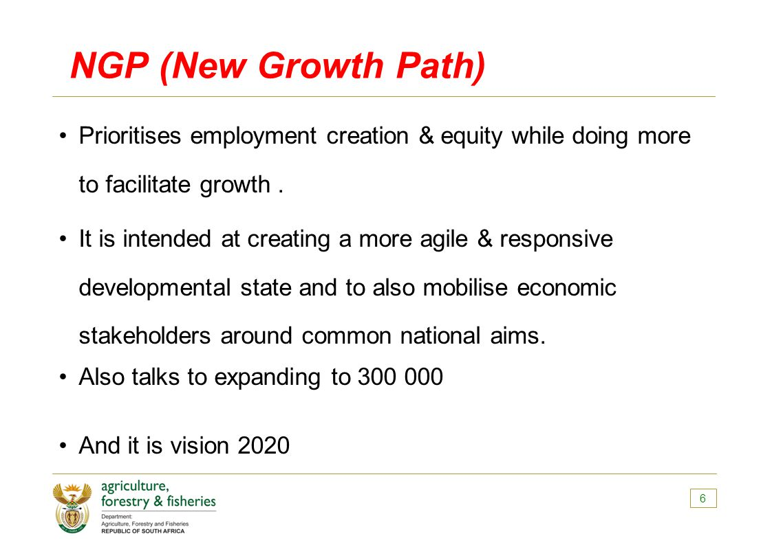 NGP (New Growth Path) Prioritises employment creation & equity while doing more to facilitate growth.