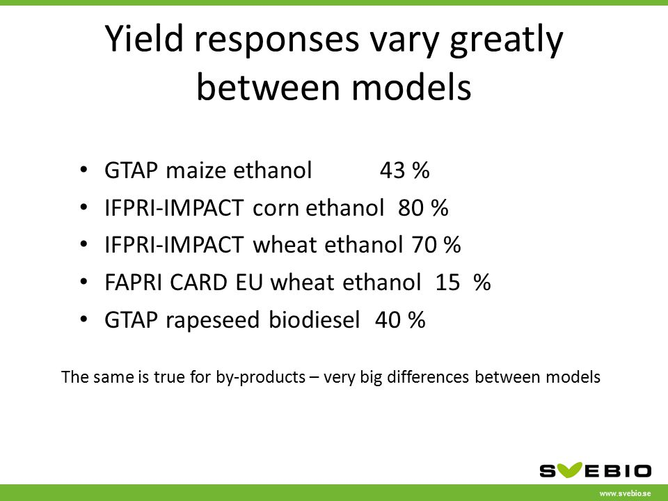 www.svebio.se Yield responses vary greatly between models GTAP maize ethanol43 % IFPRI-IMPACT corn ethanol 80 % IFPRI-IMPACT wheat ethanol 70 % FAPRI CARD EU wheat ethanol 15 % GTAP rapeseed biodiesel 40 % The same is true for by-products – very big differences between models