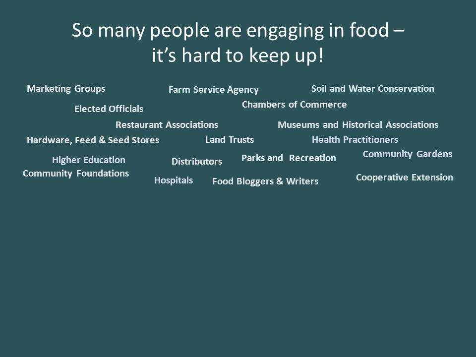 So many people are engaging in food – it's hard to keep up.