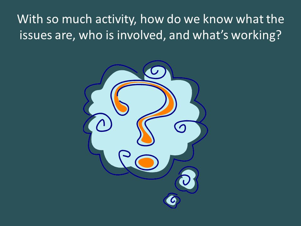 With so much activity, how do we know what the issues are, who is involved, and what's working?