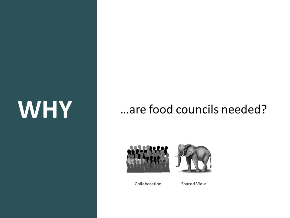 WHY …are food councils needed? Shared View Collaboration