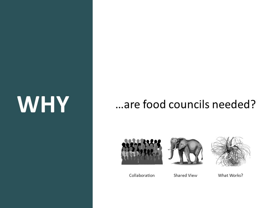 WHY …are food councils needed? Shared View Collaboration What Works?