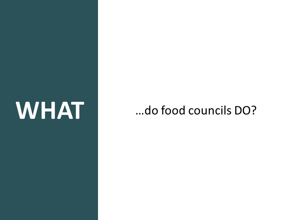 WHAT …do food councils DO?