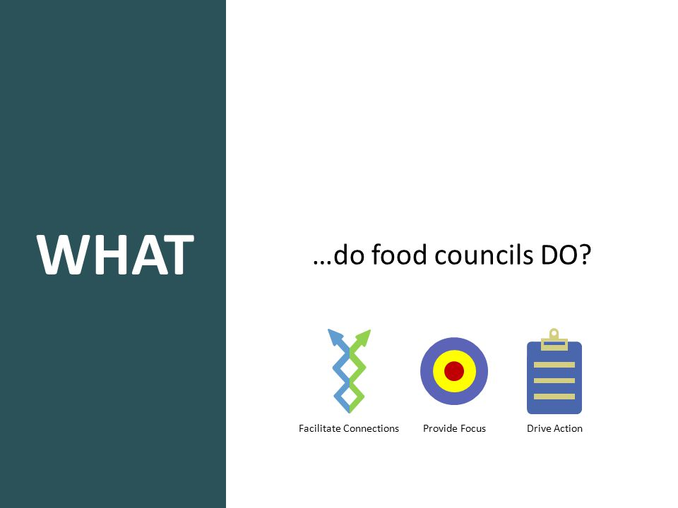 WHAT …do food councils DO? Facilitate Connections Provide Focus Drive Action