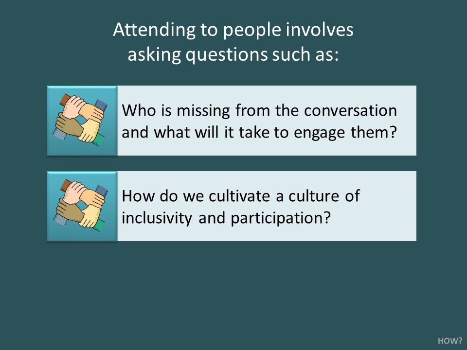 Attending to people involves asking questions such as: Who is missing from the conversation and what will it take to engage them.
