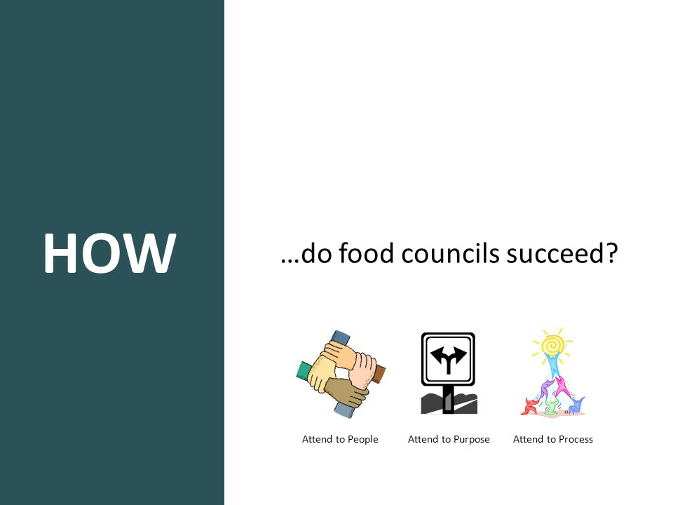 HOW …do food councils succeed? Attend to People Attend to Purpose Attend to Process