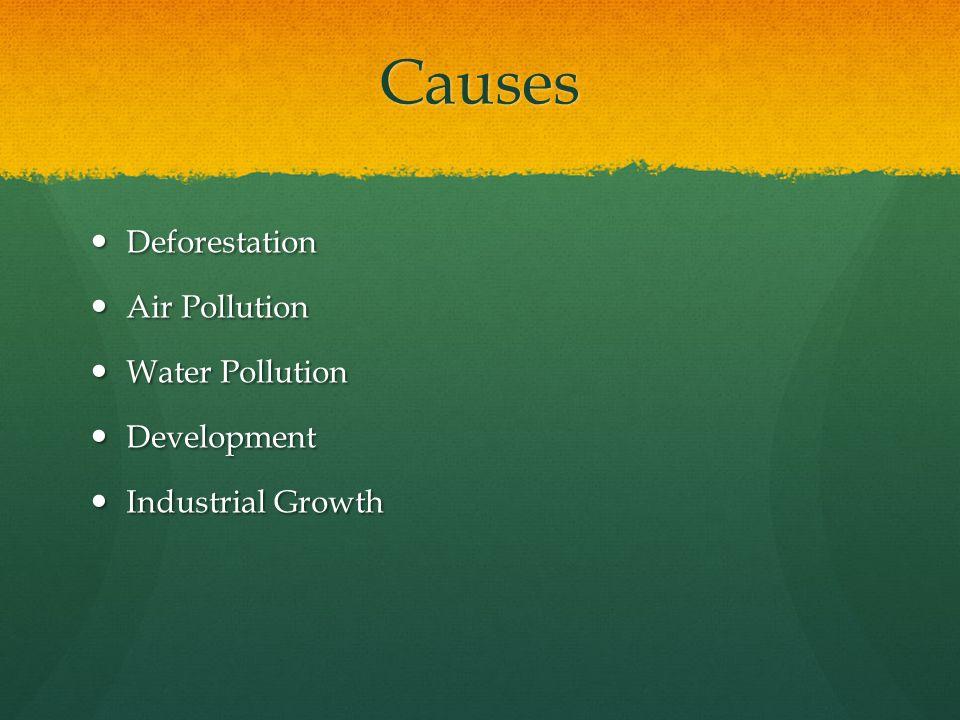 Causes Deforestation Deforestation Air Pollution Air Pollution Water Pollution Water Pollution Development Development Industrial Growth Industrial Growth