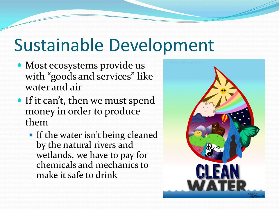 Sustainable Development Renewable resource: can be produced or replaced by a healthy ecosystem Ex: Water, wind, organisms Nonrenewable resource: can't replenish them within a reasonable amount of time Ex: Fossil fuels like coal, oil and natural gas