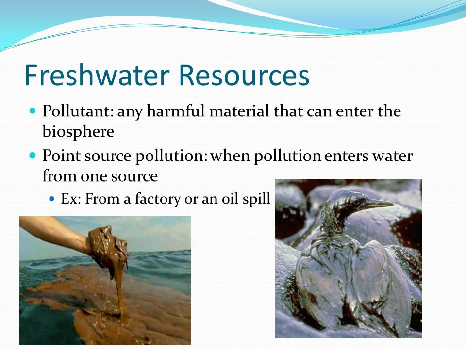 Freshwater Resources Nonpoint sources: when pollutants enter water supplies from many smaller sources Ex: the grease and oil washed off streets by rain