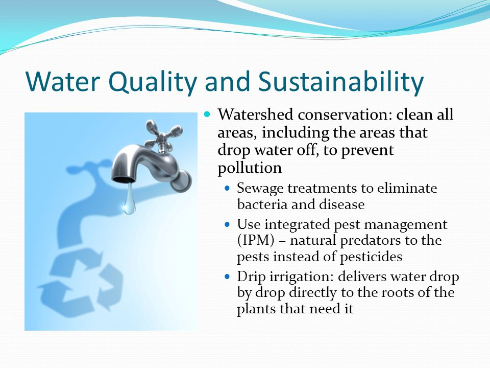 Water Quality and Sustainability Watershed conservation: clean all areas, including the areas that drop water off, to prevent pollution Sewage treatme