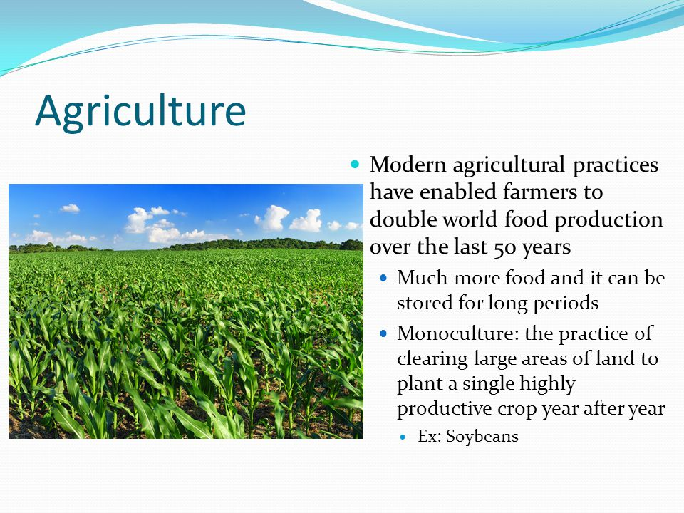 Agriculture Modern agricultural practices have enabled farmers to double world food production over the last 50 years Much more food and it can be sto