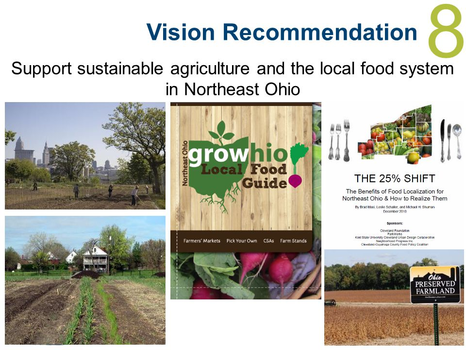 8 Vision Recommendation Support sustainable agriculture and the local food system in Northeast Ohio