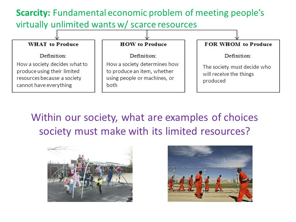 How a society decides what to produce using their limited resources because a society cannot have everything How a society determines how to produce a