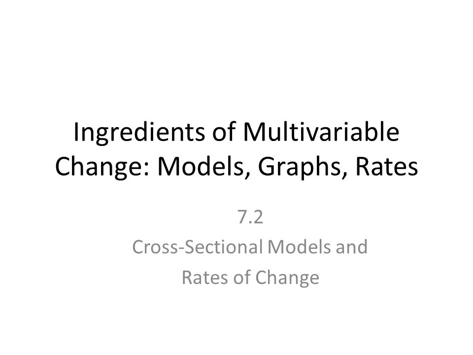 Ingredients of Multivariable Change: Models, Graphs, Rates 7.2 Cross-Sectional Models and Rates of Change