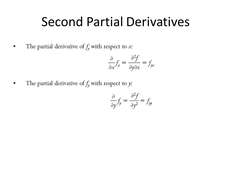 Second Partial Derivatives