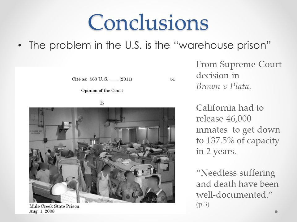 Conclusions The problem in the U.S.
