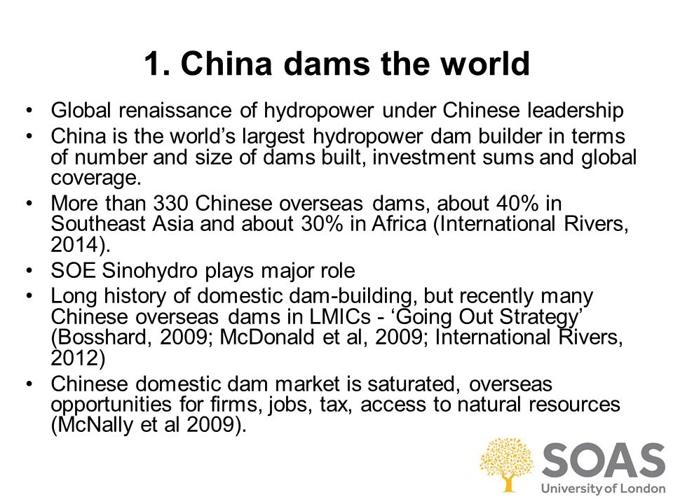 Chinese overseas dam projects by location – World regions Chinese builders involved in overseas dam projects Data from International Rivers, 2014