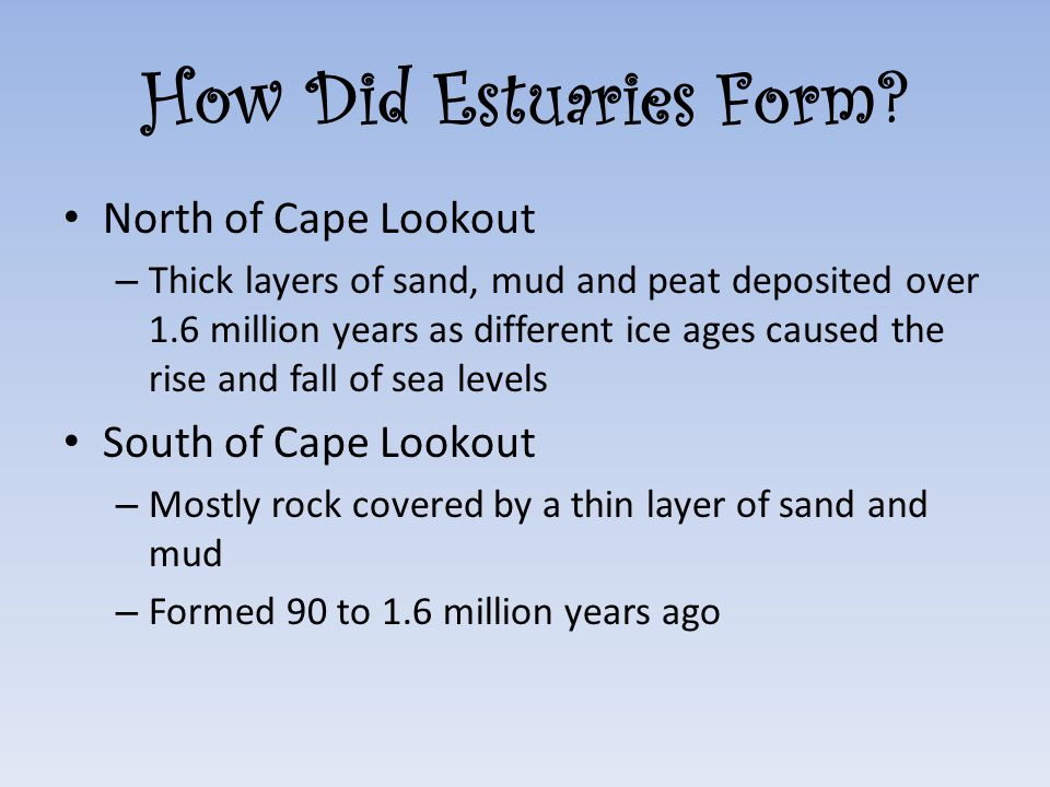 How Did Estuaries Form? North of Cape Lookout – Thick layers of sand, mud and peat deposited over 1.6 million years as different ice ages caused the r