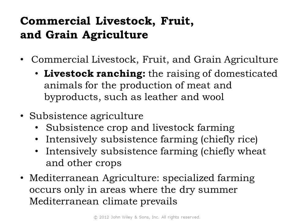 Commercial Livestock, Fruit, and Grain Agriculture Livestock ranching: the raising of domesticated animals for the production of meat and byproducts,