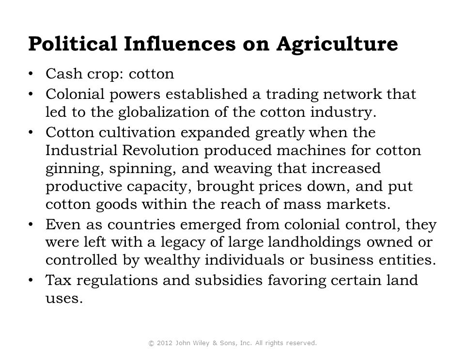 Political Influences on Agriculture Cash crop: cotton Colonial powers established a trading network that led to the globalization of the cotton indust