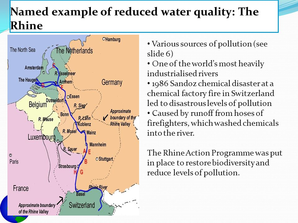 Named example of reduced water quality: The Rhine Various sources of pollution (see slide 6) One of the world's most heavily industrialised rivers 198