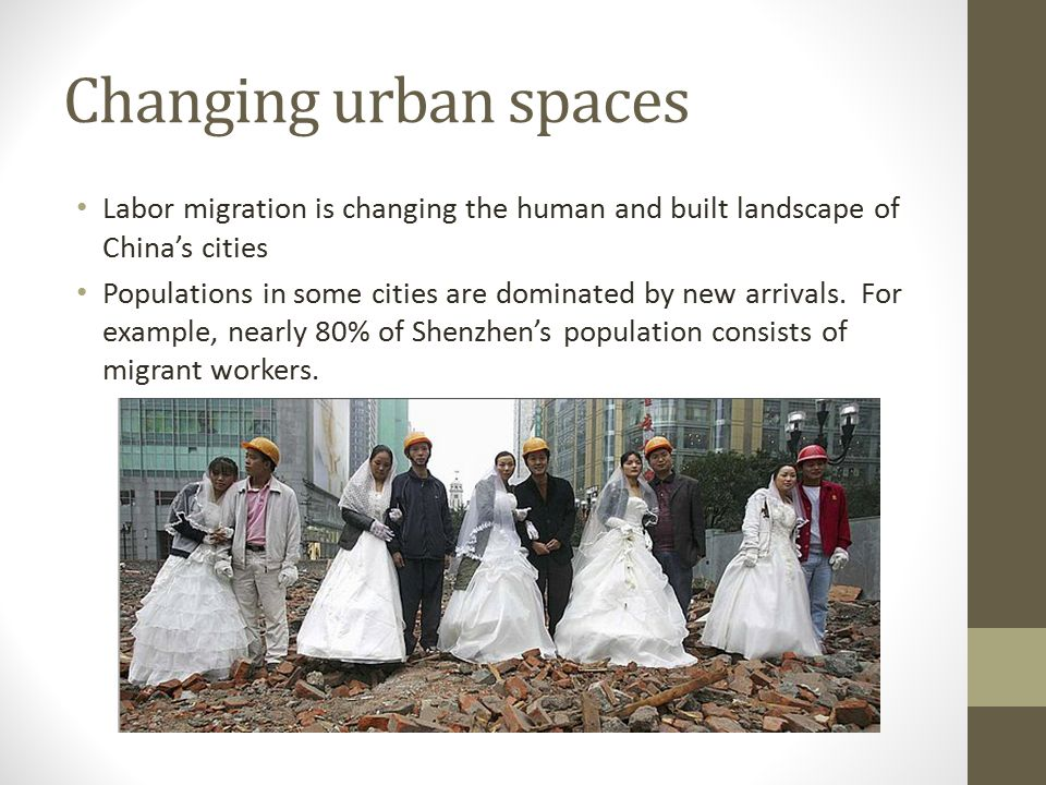 Changing urban spaces Labor migration is changing the human and built landscape of China's cities Populations in some cities are dominated by new arrivals.