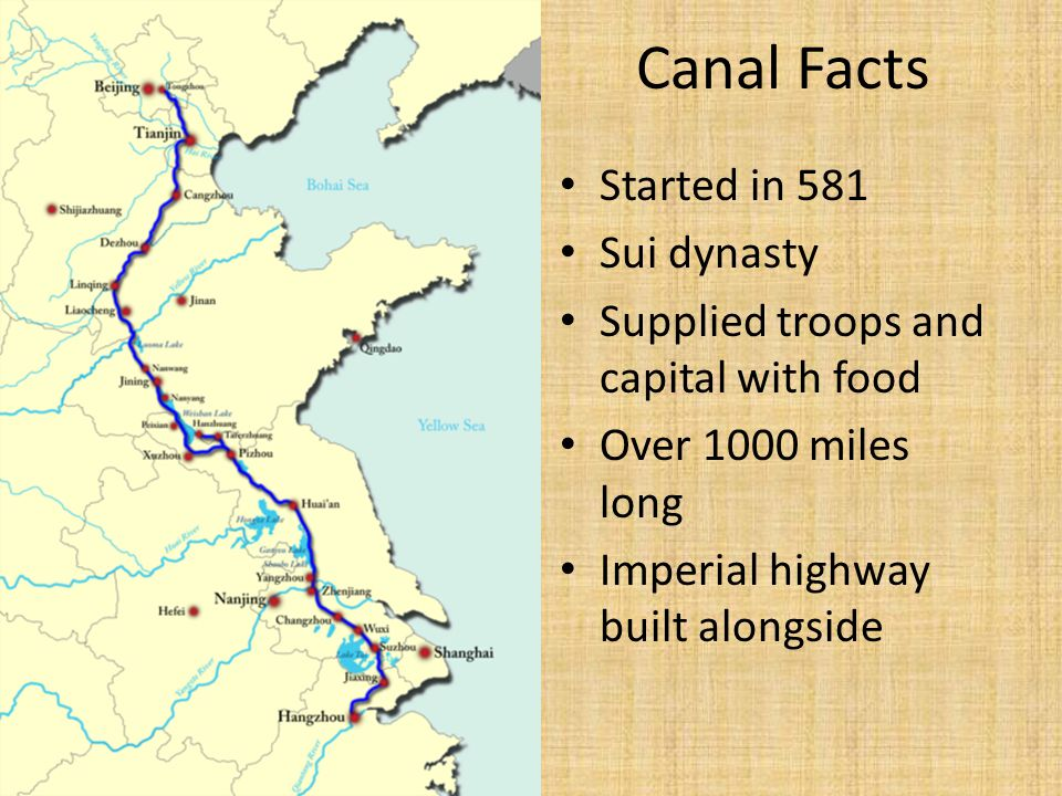 Canal Facts Started in 581 Sui dynasty Supplied troops and capital with food Over 1000 miles long Imperial highway built alongside