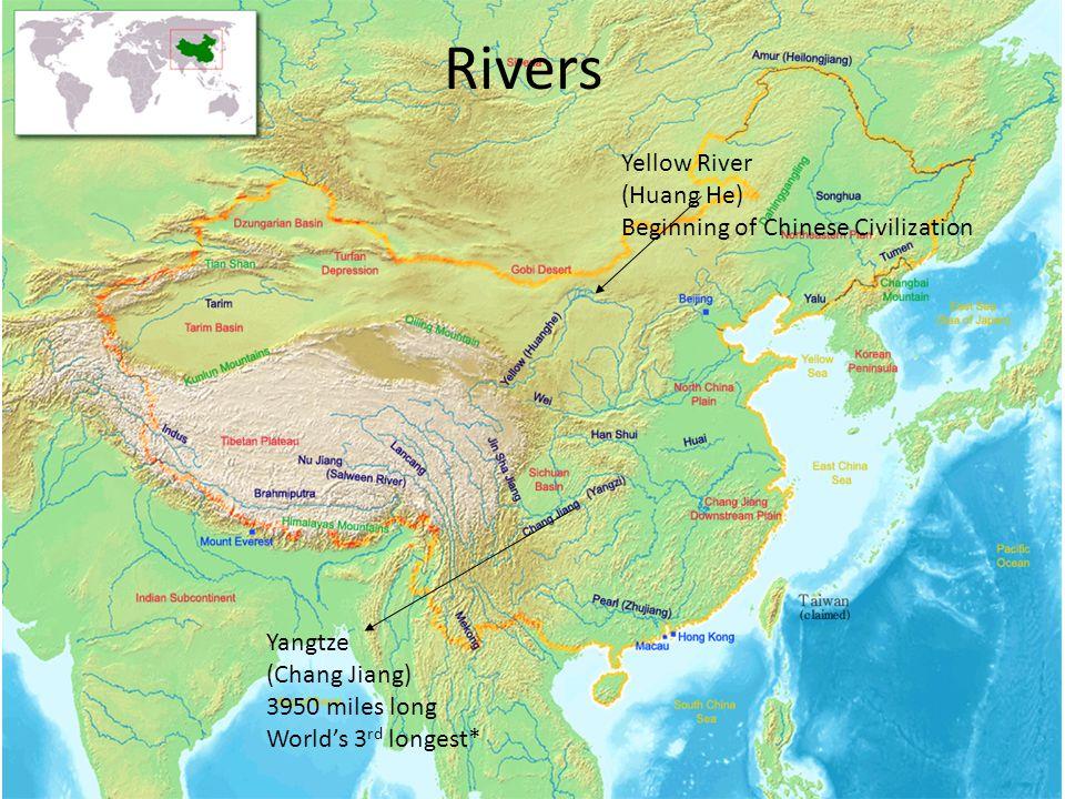 Rivers Yellow River (Huang He) Beginning of Chinese Civilization Yangtze (Chang Jiang) 3950 miles long World's 3 rd longest*