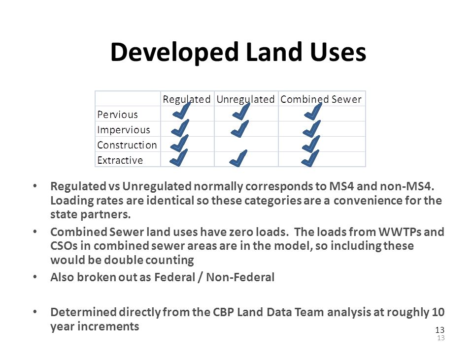 13 Developed Land Uses Regulated vs Unregulated normally corresponds to MS4 and non-MS4.