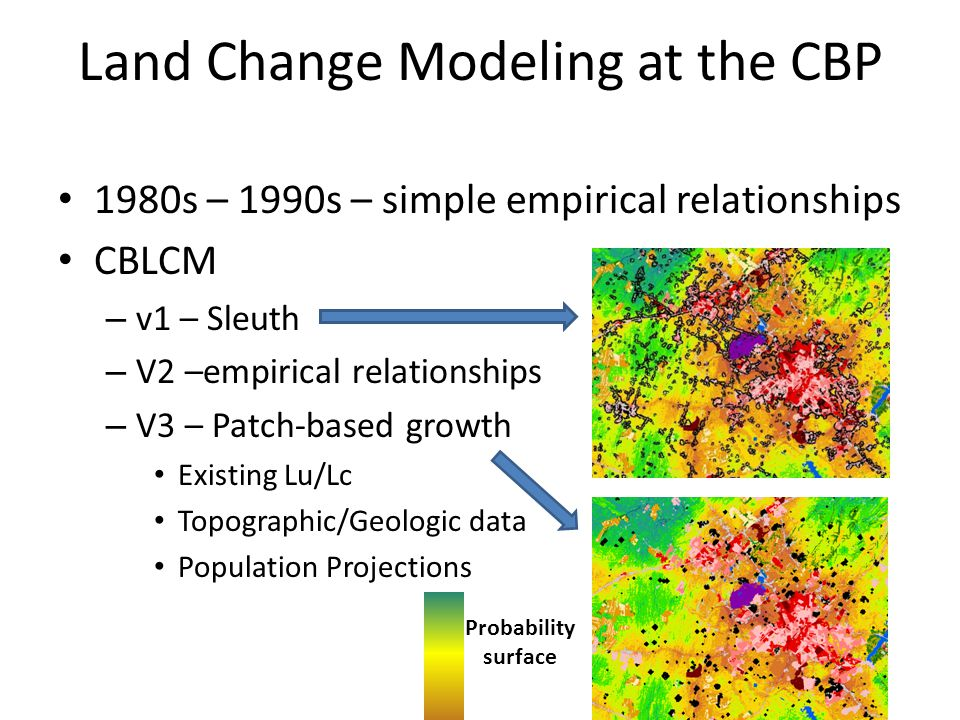 Land Change Modeling at the CBP 1980s – 1990s – simple empirical relationships CBLCM – v1 – Sleuth – V2 –empirical relationships – V3 – Patch-based growth Existing Lu/Lc Topographic/Geologic data Population Projections Probability surface
