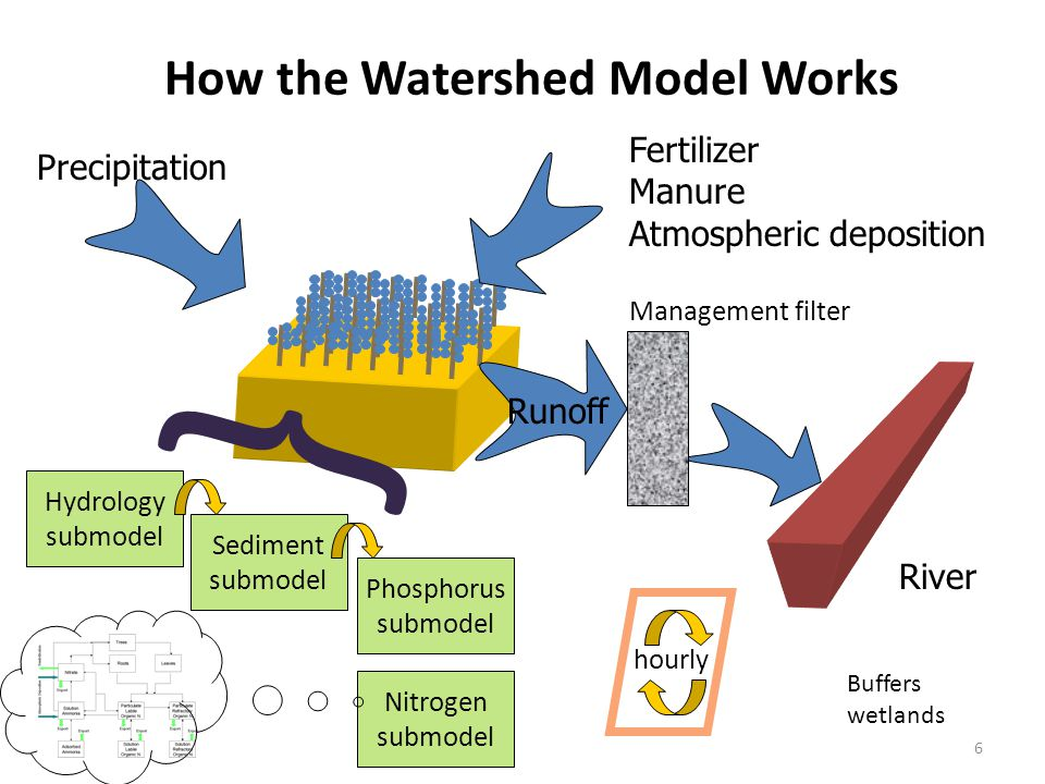 6 Precipitation Fertilizer Manure Atmospheric deposition Runoff How the Watershed Model Works Hydrology submodel Management filter River Sediment submodel Phosphorus submodel Nitrogen submodel } hourly Buffers wetlands