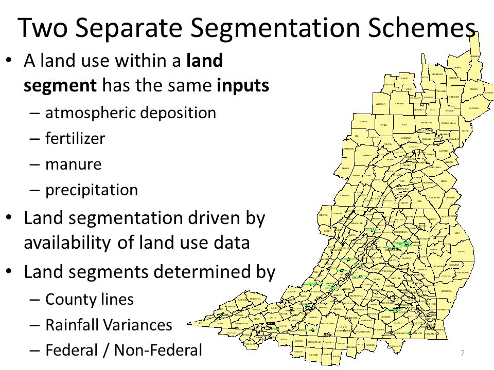 Two Separate Segmentation Schemes A land use within a land segment has the same inputs – atmospheric deposition – fertilizer – manure – precipitation Land segmentation driven by availability of land use data Land segments determined by – County lines – Rainfall Variances – Federal / Non-Federal 7