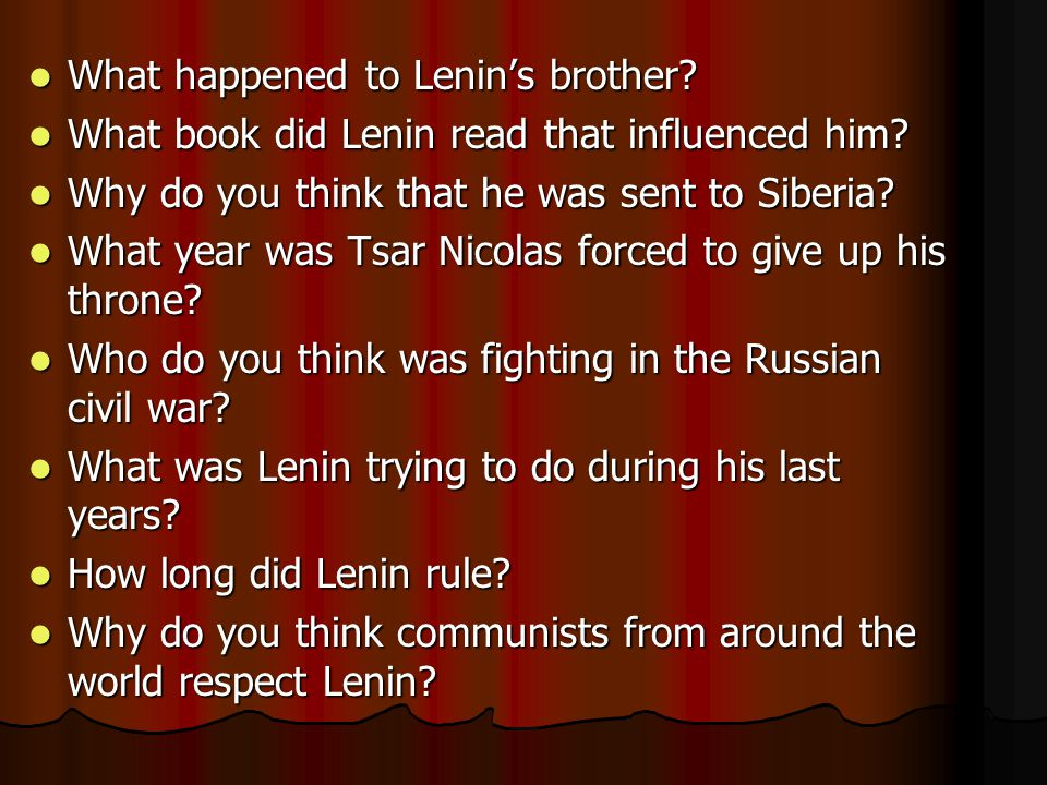 What happened to Lenin's brother. What happened to Lenin's brother.