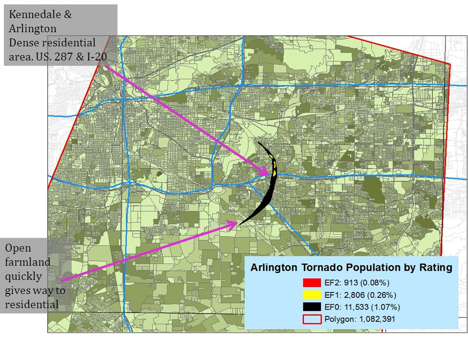 Kennedale & Arlington Dense residential area. US.