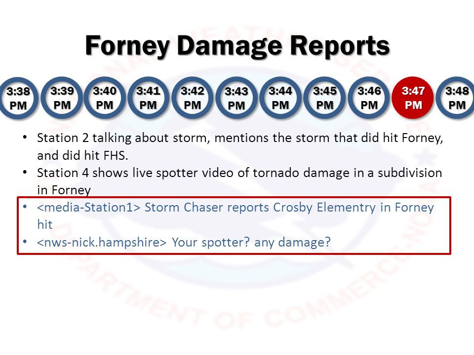 Forney Damage Reports 3:38 PM 3:39 PM 3:40 PM 3:41 PM 3:42 PM 3:43 PM 3:44 PM 3:45 PM 3:46 PM 3:47 PM 3:48 PM Station 2 talking about storm, mentions the storm that did hit Forney, and did hit FHS.