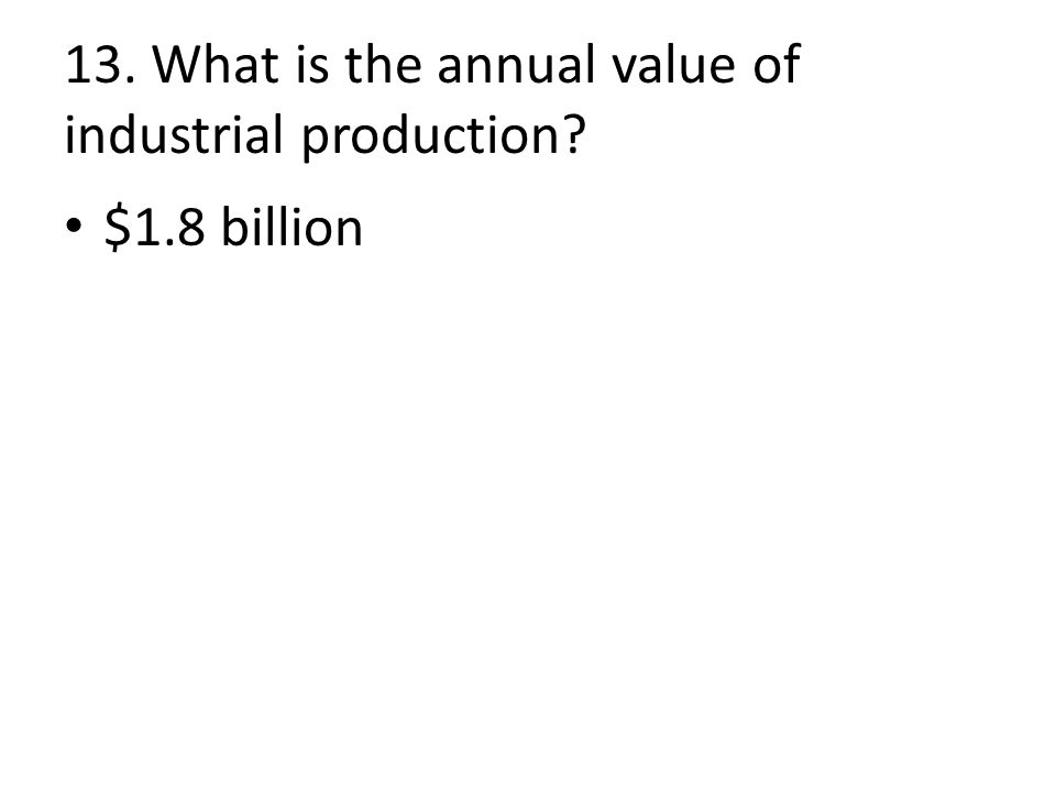 13. What is the annual value of industrial production $1.8 billion