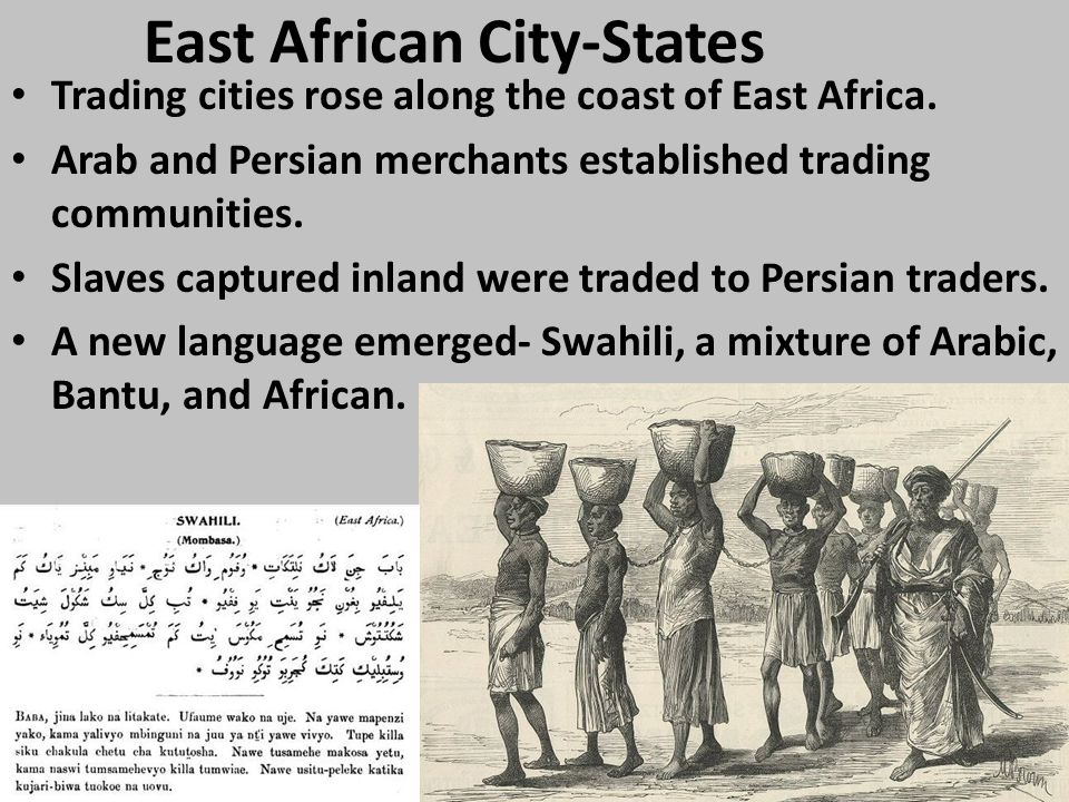 East African City-States Trading cities rose along the coast of East Africa.