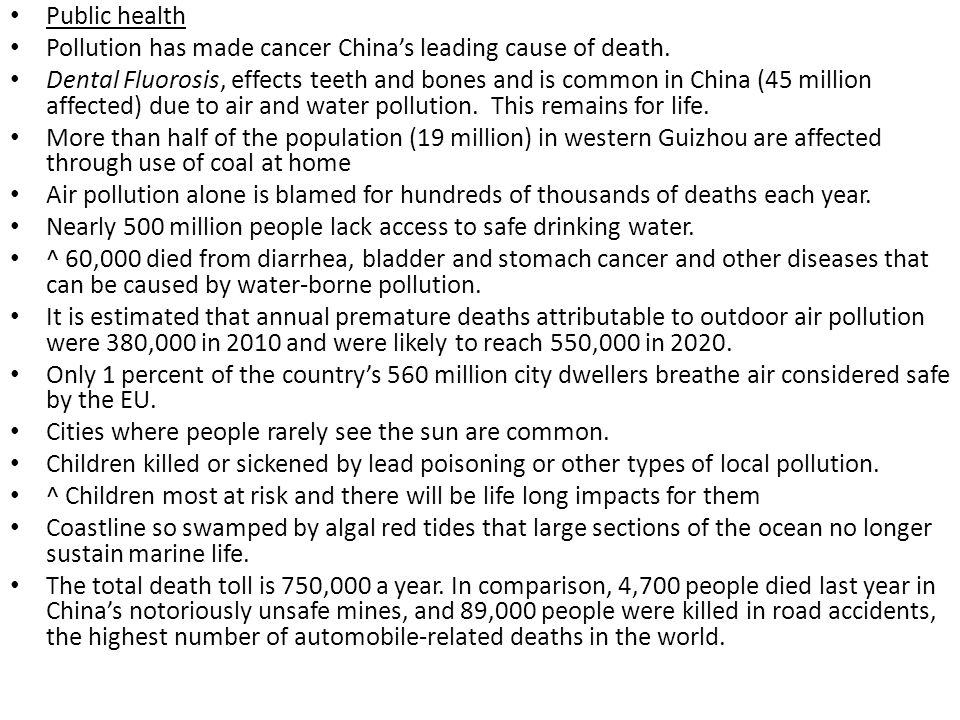 Public health Pollution has made cancer China's leading cause of death.